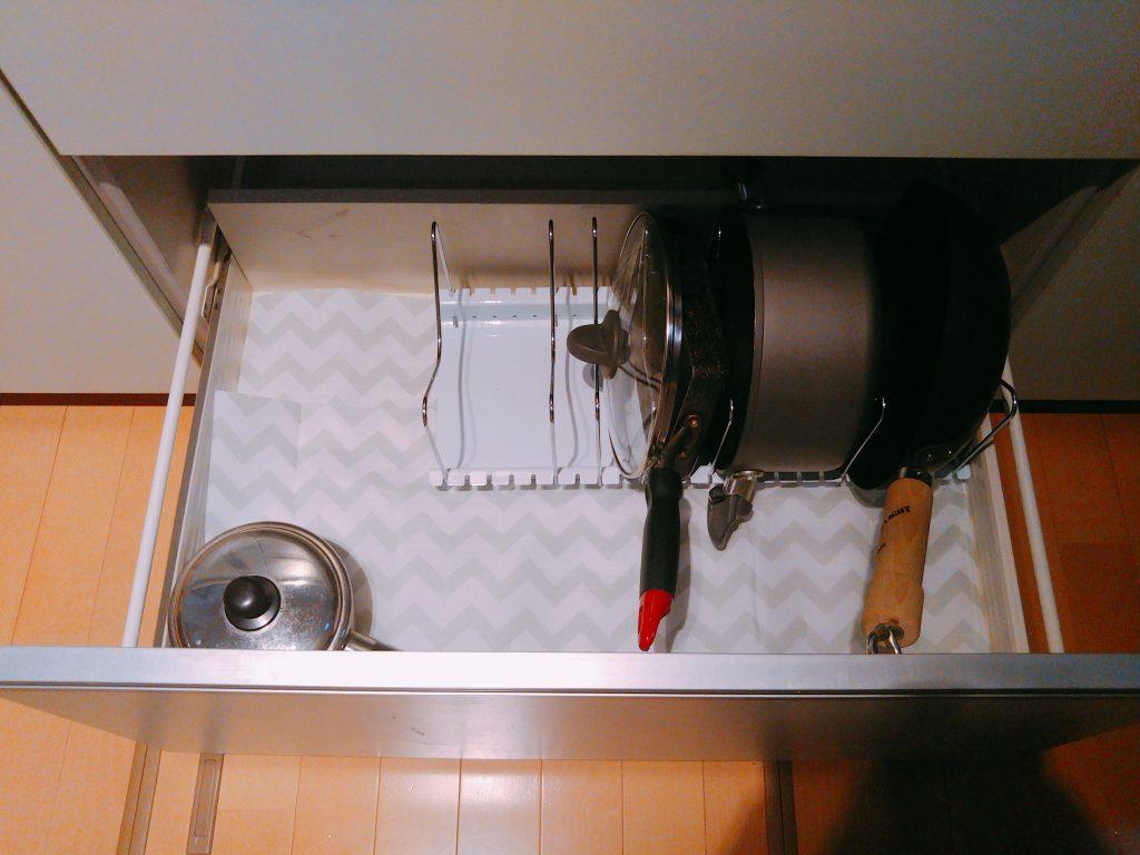 鍋やフライパンの収納